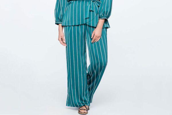 Eloquii Pinstripe Wide Leg Pajama Pant