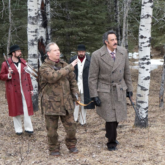 "FARGO -- ""The Gift of the Magi"" -- Episode 205 (Airs November 9, 10:00 pm e/p) Pictured: (l-r) Brad Mann as Gale Kitchen, Jeff Clarke as Richard Armbruster, Todd Mann as Wayne Kitchen, Brad Garrett as Joe Bulo. CR: Chris Large/FX"