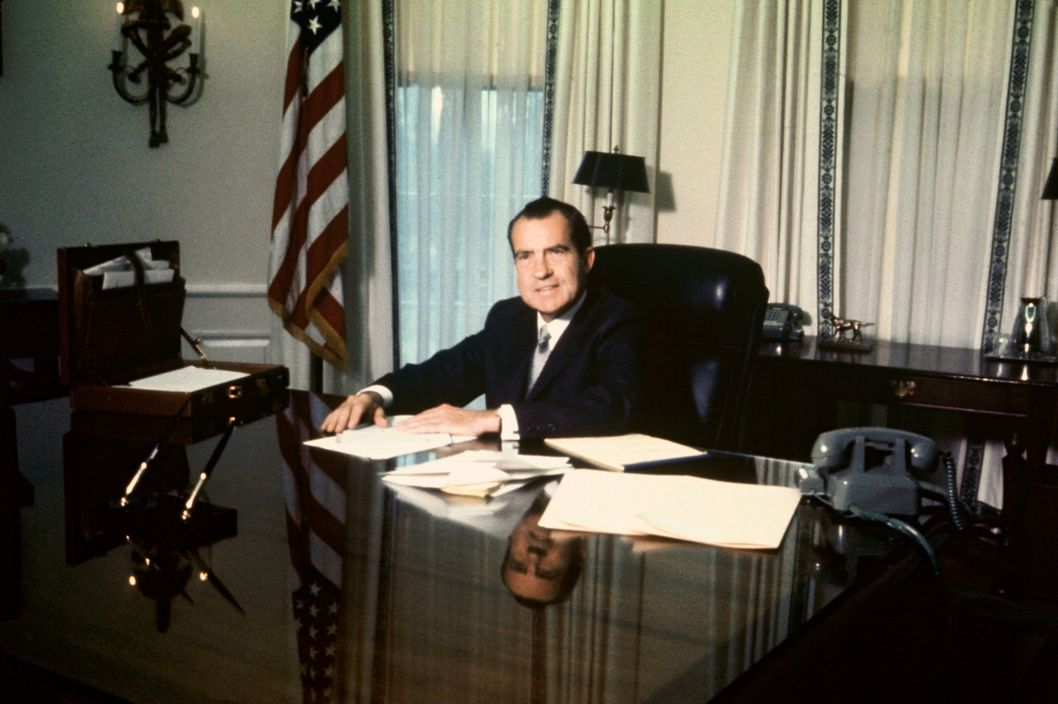 President of the United States Richard NIXON at his desk in the White House in 1969.