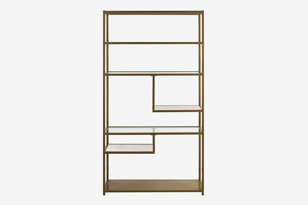 Dorel Living Moriah Geometric Bookcase Etagere, Soft Brass