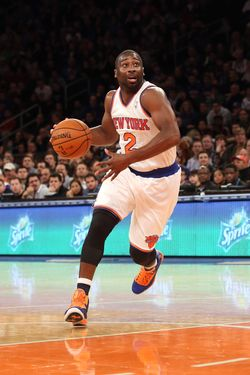 Raymond Felton #2 of the New York Knicks dribbles the ball against the Indiana Pacers at Madison Square Garden on November 18, 2012 in New York City.