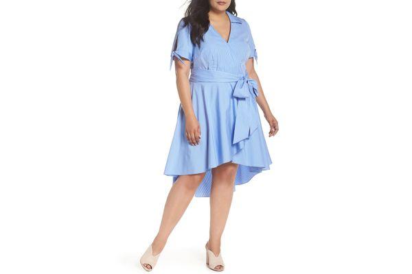 Eliza J High/Low Faux Wrap Shirtdress