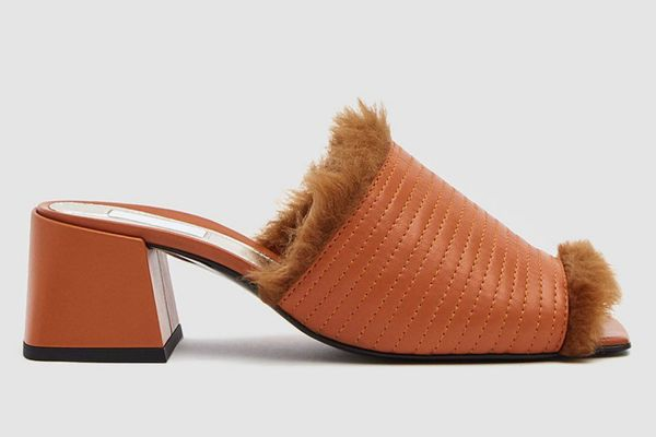 Suzanne Rae Fur Lined Heeled Sandal in Pumpkin