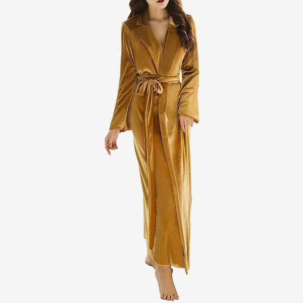Women's Long Bathrobe Fuzzy Velvet Warm Robes for Winter Plush Shawl