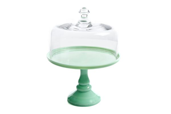 Pioneer Woman Timeless Beauty 10 In. Cake Stand with Glass Cover, Green