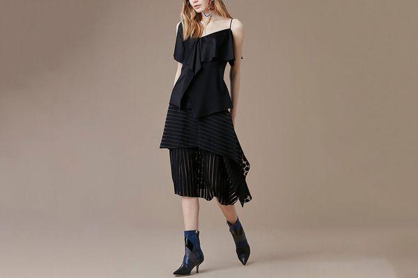 Front Ruffle Midi Skirt