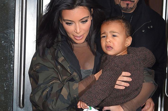 Kim Kardashian West with North West.