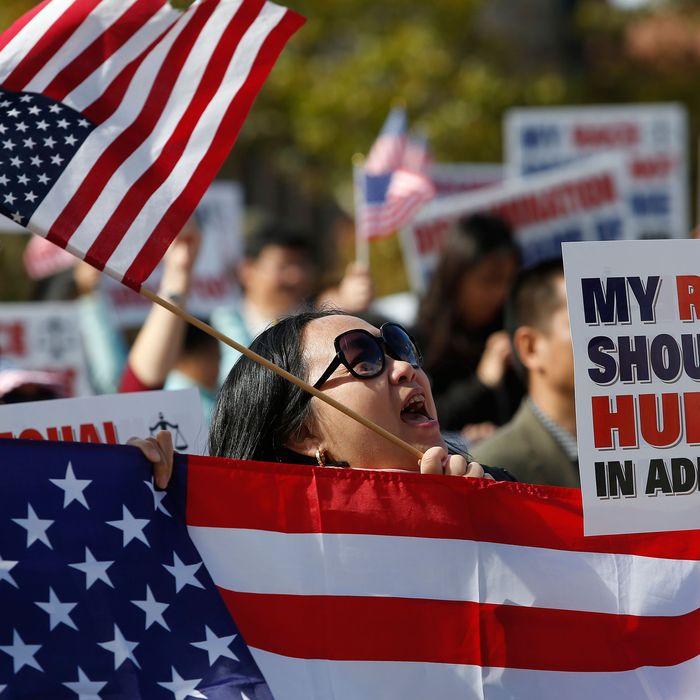 Protesters decrying Harvard's admissions criteria.
