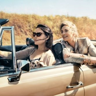 Lara Embry and Jane Lynch in this month's <em>Vogue</em>.