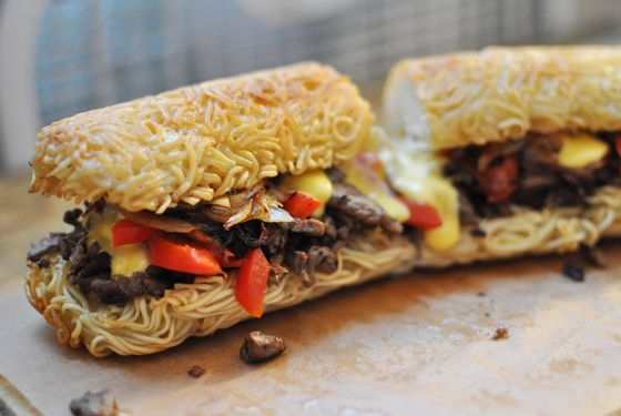 Introducing the Ramen Philly Cheesesteak, on a seven-inch bun.
