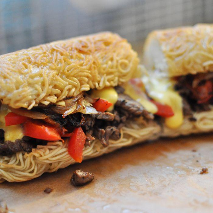Introducing the Ramen Philly Cheesesteak, on a seven-inch bun.