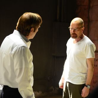 Saul Goodman (Bob Odenkirk) and Walter White (Bryan Cranston) - Breaking Bad _ Season 5, Episode 15 - Photo Credit: Ursula Coyote/AMC