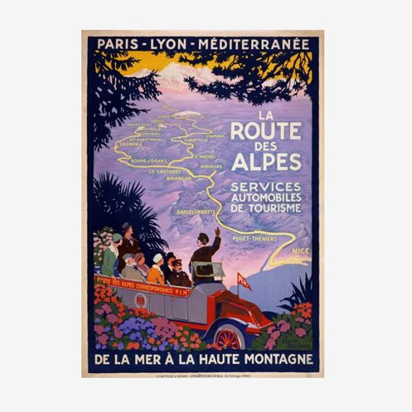 Vintage 1920s French Route Des Alpes France Travel Poster