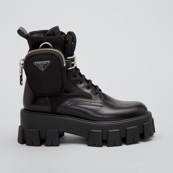 Prada Leather Zip Pocket Combat Booties