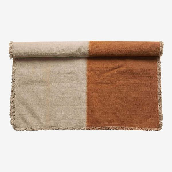 Creative Co-Op Cotton Canvas Dip-Dyed Rug, Sienna