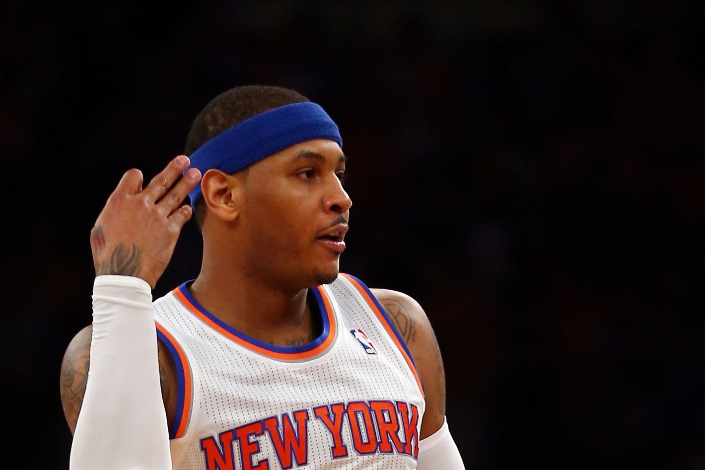 NEW YORK, NY - APRIL 20:  Carmelo Anthony #7 of the New York Knicks celebrates his three point shot in the first half against the Boston Celtics during Game One of the Eastern Conference Quarterfinals of the 2013 NBA Playoffs on April 20, 2013 at Madison Square Garden in New York City. NOTE TO USER: User expressly acknowledges and agrees that, by downloading and/or using this photograph, user is consenting to the terms and conditions of the Getty Images License Agreement.  (Photo by Elsa/Getty Images)