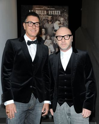 Designer Stefano Gabbana and Domenico Dolce attend the Dolce & Gabbana