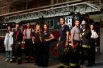 CHICAGO FIRE -- Season: Pilot -- Pictured: (l-r) Teri Reeves as Hallie, David Eigenberg as Christopher Hermann, Charlie Barnett as Peter Mills, Lauren German as Leslie Shay, Monica Raymund as Gabriella Dawson, Taylor Kinney as Kelly Severide, Jesse Spencer as Matthew Casey, Eamonn Walker as Battalion Chief Walter Boden, Merle Dandridge as Kay Fitori -- (Photo by: Sandro/NBC)
