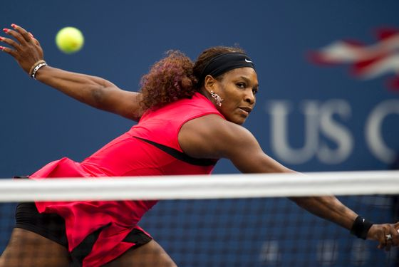 Serena Williams of the US return the ball during her women's finals match against Samantha Stosur of Australia at the 2011 US Open tennis tournament September 11, 2011 in New York. Samantha Stosur stunned three-time champion Serena Williams 6-2, 6-3 to win the US Open, claiming the first Grand Slam title of her career in a stormy final. AFP PHOTO/DON EMMERT (Photo credit should read DON EMMERT/AFP/Getty Images)