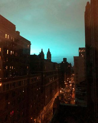 Blue lights over Astoria, Queens, following an explosion.