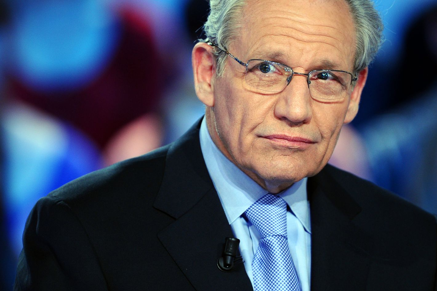 """US journalist Bob Woodward takes part in the TV show """"Le Grand Journal"""" on Canal+ channel, on April 7, 2011 in Paris."""