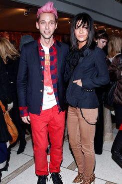 Designer Chris Benz with Jessica Szohr at Benz's Fall 2012 show