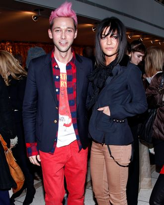 Designer Chris Benz with Jessica Szohr at Benz's Fall 2012 show