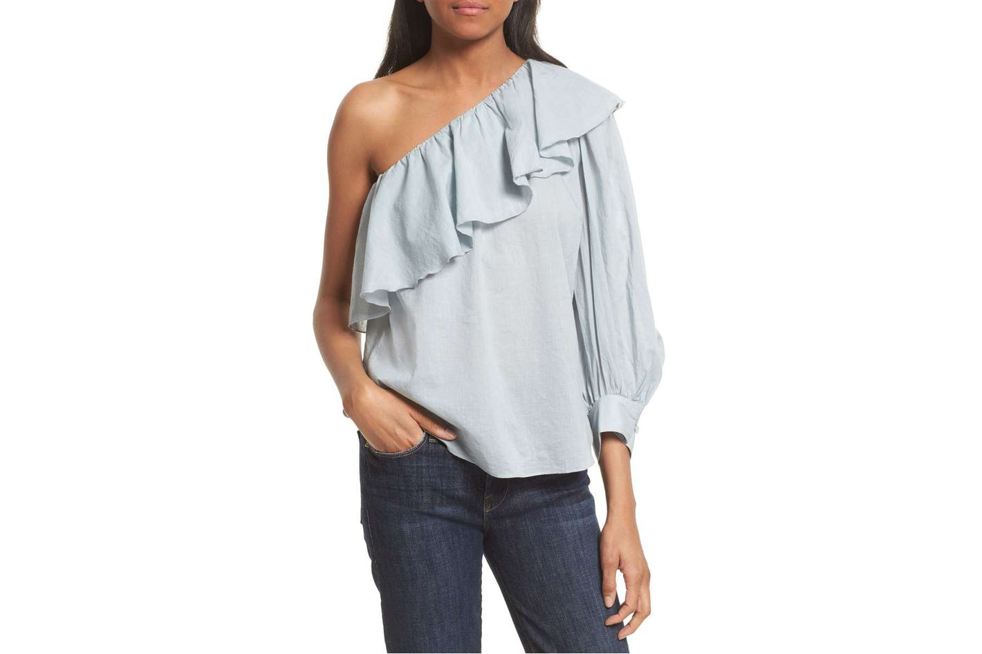 Apiece Apart Bergamot Ruffle One-Shoulder Top