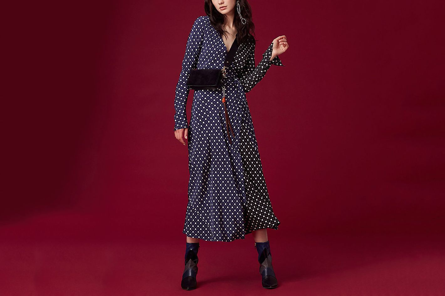 Long-Sleeve Woven Wrap Dress