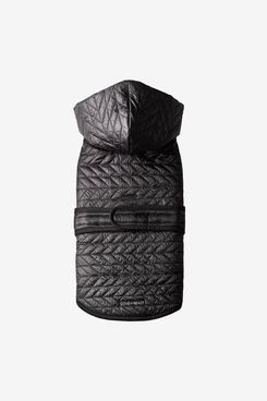 Love Thy Beast Black Quilted Nylon Puffer Jacket With Shearling Lining