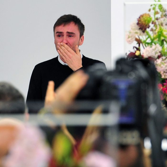 Raf Simons's tearful final bow at Jil Sander.