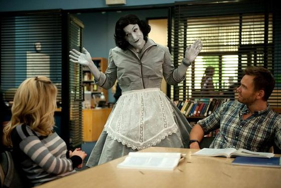 "COMMUNITY -- ""Herstory of Dance"" Episode 407 -- Pictured: (l-r) Gillian Jacobs as Britta, Jim Rash as Dean Pelton, Joel McHale as Jeff Winger -- (Photo by: Colleen Hayes/NBC)"