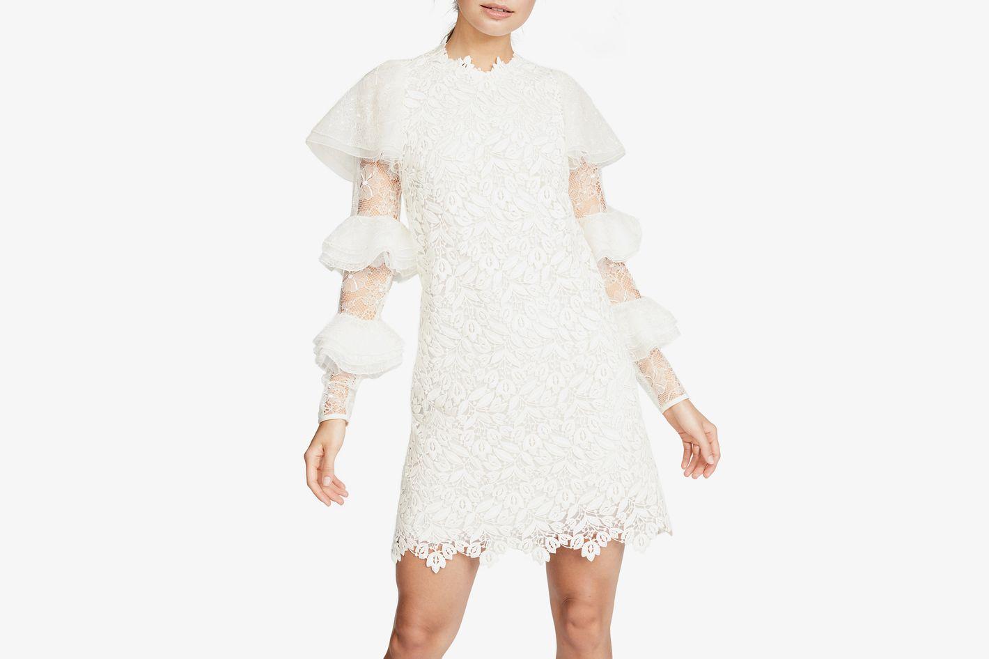 Giambattista Valli Riffle Sleeve Lace Dress