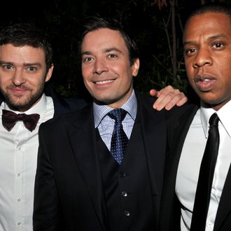 (L-R) Actor Justin Timberlake, TV Host Jimmy Fallon and rapper Jay-Z attend GQ's 2011