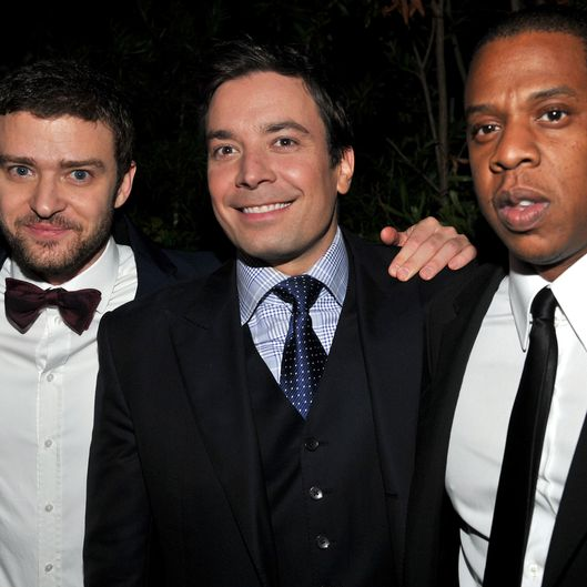 "(L-R)  Actor Justin Timberlake, TV Host Jimmy Fallon and rapper Jay-Z attend GQ's 2011 ""Men of the Year"" Party held at Chateau Marmont on November 17, 2011 in Los Angeles, California."