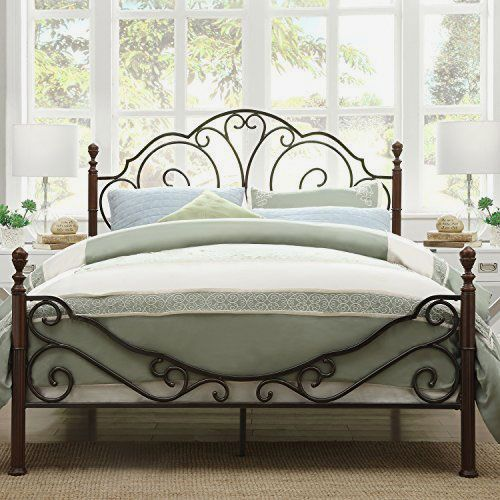 Tribecca Homes Metro Shop LeAnn Graceful Scroll Bronze Bed — Queen