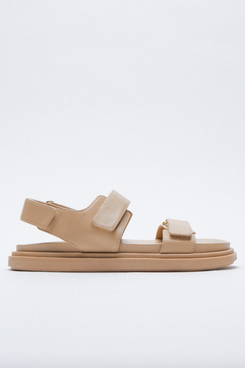 Adhesive Strap Low Heel Leather Sandals