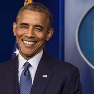 US President Barack Obama smiles after making a statement in the briefing room of the White House on August 1, 2014 in Washington. Obama declared that the US economy was getting stronger and had generated