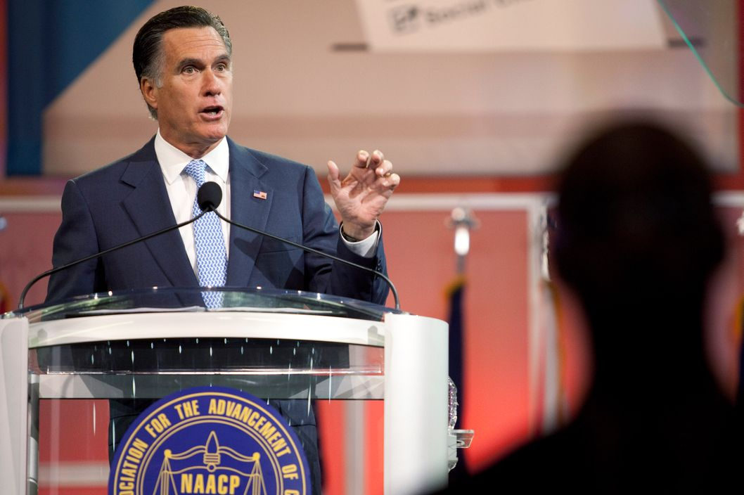 HOUSTON, TX -  JULY 11:  Republican presidential candidate and former Massachusetts Gov. Mitt Romney addresses the NAACP National Convention at the Geoerge R. Brown Covention Center July 11, 2012 in Houston, Texas. Romney spoke about jobs and reducing government spending, including the Affordable Heathcare Act, during the address.  (Photo by Eric Kayne/Getty Images)