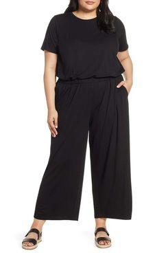 Eileen Fisher Stretch Tencel Lyocell Jumpsuit (Plus Size)