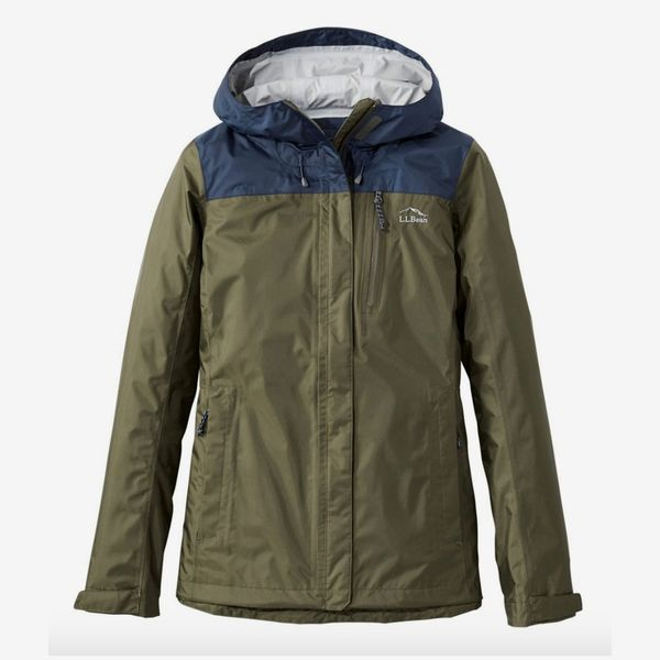 LL Bean Women's Trail Model Rain Jacket, Blue Colorblock
