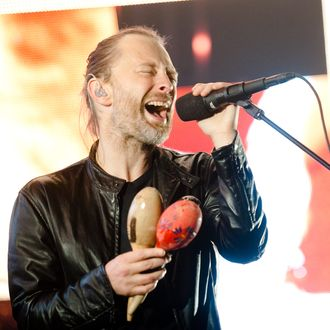 Radiohead performing at Manchester Arena on 6th October 2012. Lead singer/guitarist Thom Yorke.