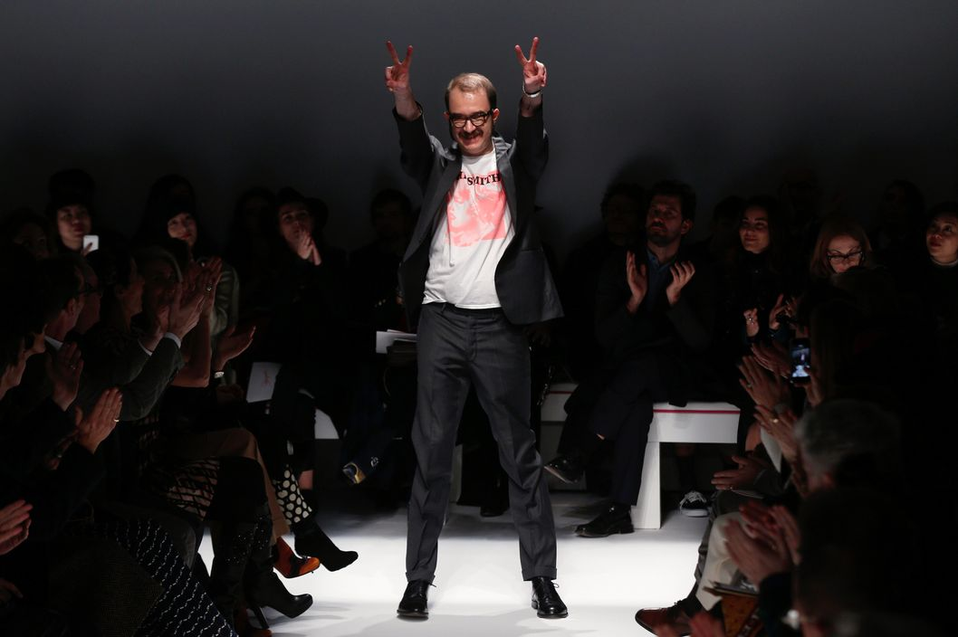 Italian fashion designer Marco Zanini for Schiaparelli acknowledges the public during the Schiaparelli Haute Couture Spring-Summer 2014 collection show, on January 20, 2014 in Paris.