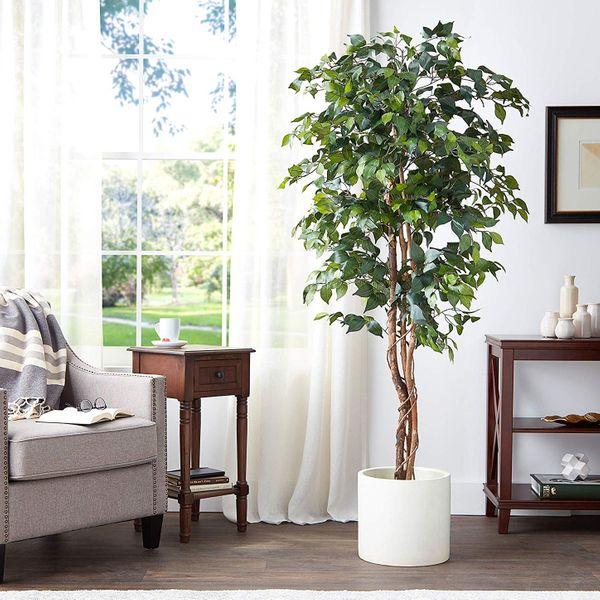 Nearly Natural Silk Ficus Tree, 6-Feet