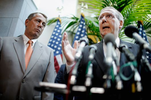 Senate Minority Leader Mitch McConnell (R-KY) (R) speaks during a brief press conference with Speaker of the House John Boehner (R-OH) after the weekly House GOP caucus meeting at the U.S. Capitol June 6, 2012 in Washington, DC. The House Republican leaders said that letting the Bush tax cuts for the wealthest Americans expire would be  harmful for the economy and proposed the cuts be extended for a year so Congress could reform the tax code.