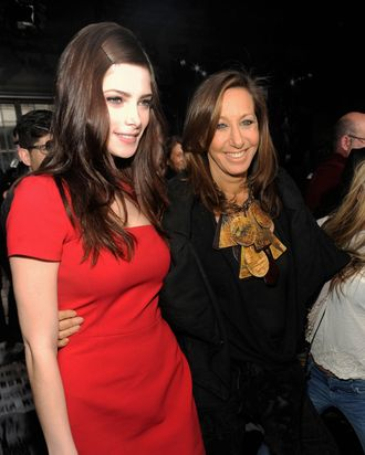Actress Ashley Greene and designer Donna Karan attend the DKNY Women's Fall 2012 fashion show during Mercedes-Benz Fashion Week on February 12, 2012 in New York City. (Photo by Rabbani and Solimene Photography/Getty Images for Mercedes-Benz Fashion Week)