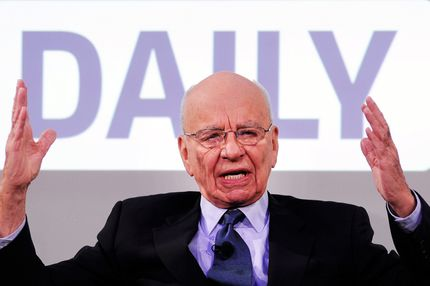 "News Corp Chairman and CEO Rupert Murdoch speaks during the press conference announcing the launch of ""The Daily"" Ipad application at the Solomon R. Guggenheim Museum on February 2, 2011 in New York City."