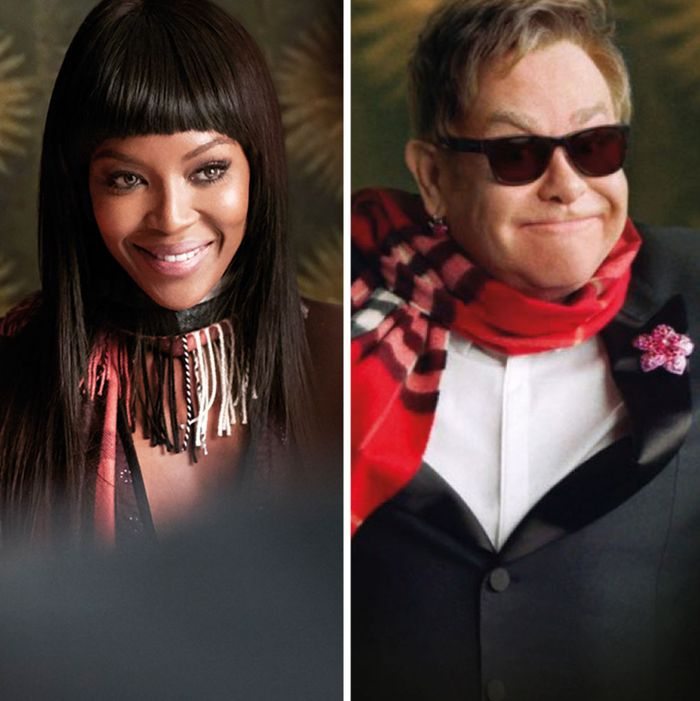 James Corden, Naomi Campbelll, and Sir Elton John in Burberry's campaign.