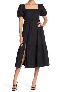 ASTR the Label Poplin Tiered Maxi Dress