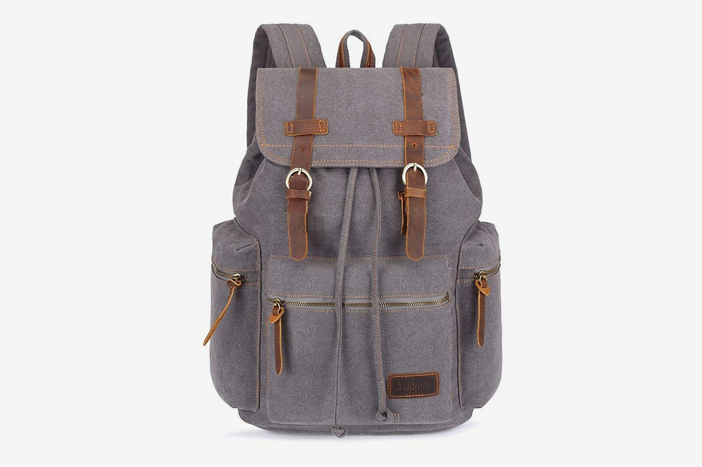 BLUBOON Canvas Vintage Travel Backpack with Leather Trim e14e02832a80f
